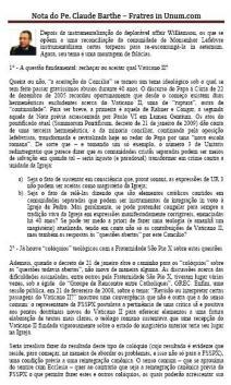 Leia a nota do Padre Claude Barthe em português