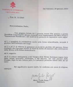 A resposta de Mons. Guido Pozzo (clique para ampliar)