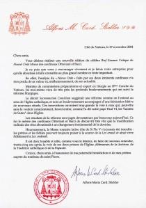 Carta do Cardeal Alfons Stickler sobre a nova edição do Breve Exame Crítico do Novo Ordo da Missa.
