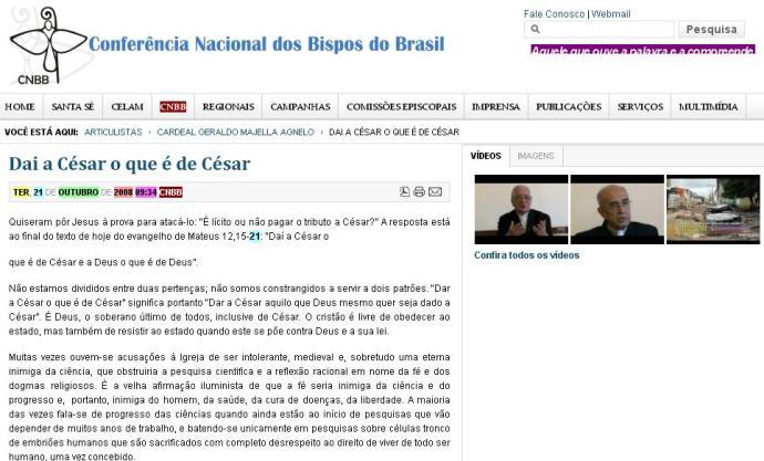 Artigo de Dom Luiz Gonzaga Bergonzini publicado no site da CNBB até quarta-feira.