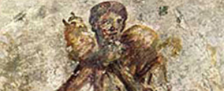 Representação primitiva de Cristo como Bom Pastor do terceiro século.