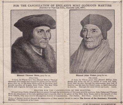 Orações pela canonização dos então beatos Morus e Fisher.