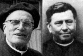 Pe. Barriel (esquerda), que foi o braço direto do Pe. Vallet (direita), um Jesuíta que se dedicou inteiramente aos exercícios espirituais e que fez a adaptação dos exercícios de 30 dias para 5 dias.