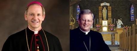 À esquerda, Dom Thomas Paprocki, bispo de Springfield, IL; à direita, Dom David Ricken, bispo de Green Bay, WI.
