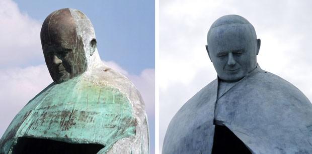 Primeira versão da estátua de João Paulo em 2011 e a segunda inaugurada nesta segunda (19) (Foto: Gregorio Borgia/AP)