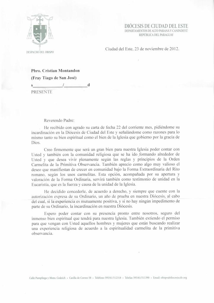 Carta de Dom Rogélio 1