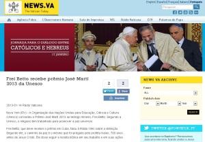 Portal de notícias da Santa Sé destaca prêmio concedido a Frei Betto.