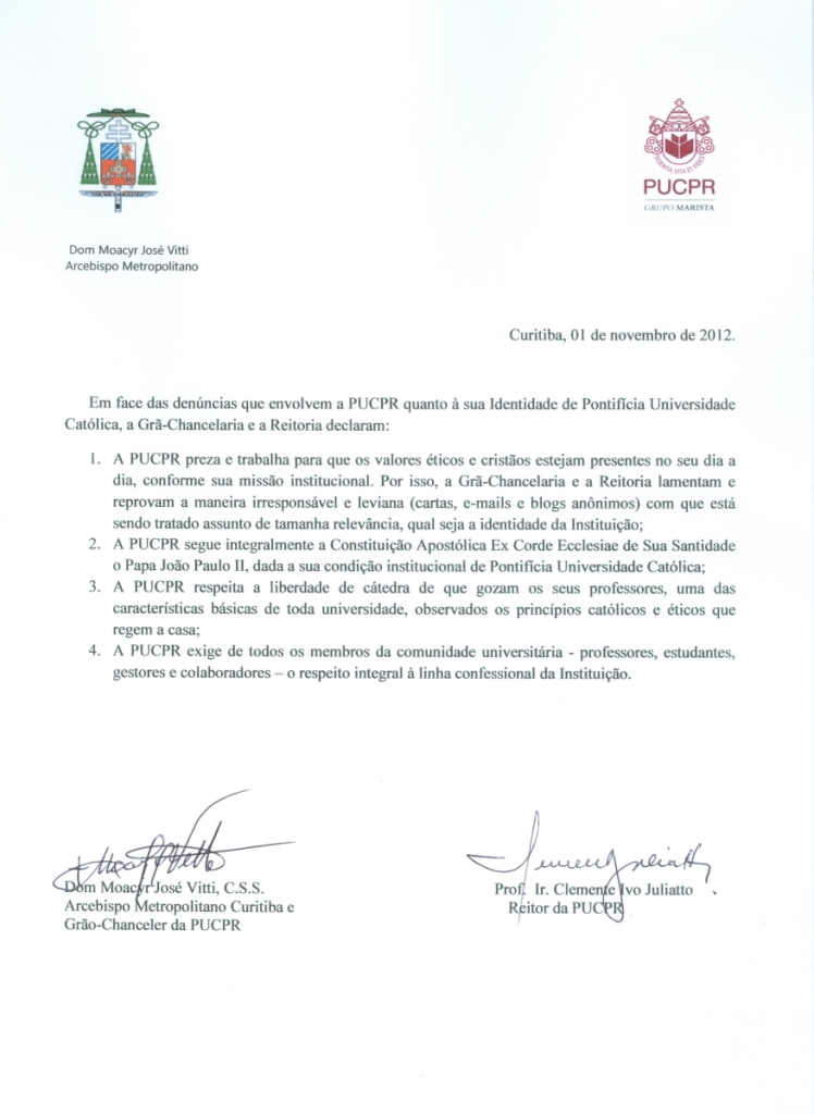 Nota do Arcebispo de Curitiba e do Reitor da PUC-PR.