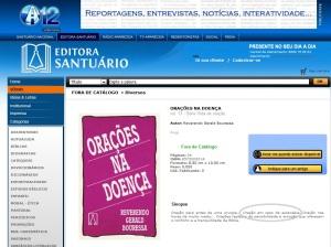 """Página da Editora Santuário divulga livro com """"oração na eutanásia"""". Clique para ampliar."""