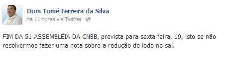 Imagem do perfil no facebook de Dom Tomé Ferreira da Silva, Bispo Diocesano de São José do Rio Preto.