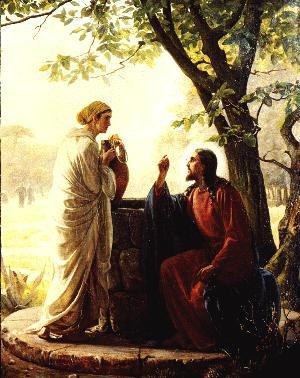 Cristo corrige a Samaritana à beira do Poço de Jacó.