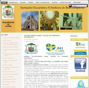 """""""Esclarecimento"""" divulgado na página oficial da Arquidiocese de Cuiabá."""