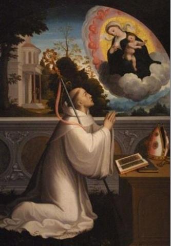 São Bernardo de Claraval O.Cist, santo e Doutor da Igreja (1090 - 1153). Uma das personalidades mais influentes do século XII, São Bernardo foi pregador de grande relevância em tempos da heresia albigense. Fundou 72 mosteiros cistercienses. Foi canonizado em 18 de junho de 1174 por Alexandre III e declarado Doutor da Igreja por Pio VIII, em 1830.