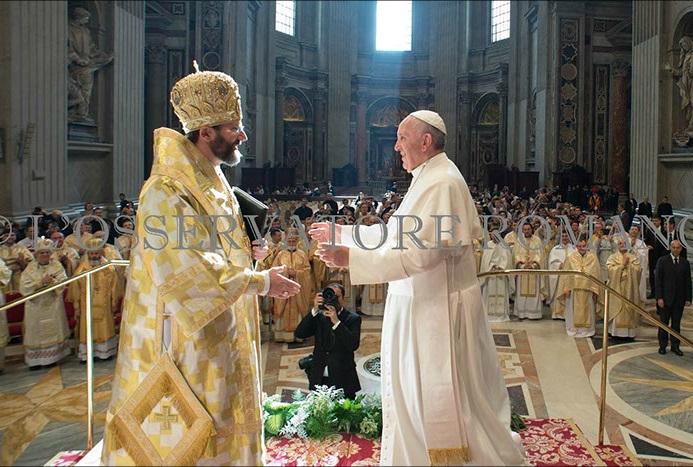 Novembro de 2013: o Arcebispo Maior dos Greco Católicos é recebido pelo Papa Francisco na Basílica de São Pedro.