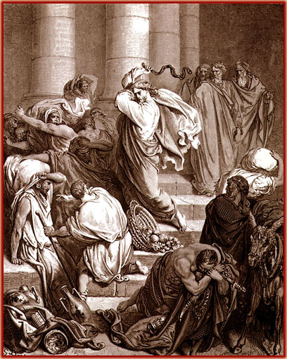 Cristo expulsa os vendilhões do templo - Rosinha faltou nesta aula de catequese.