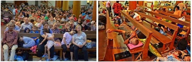 """Refugiados em um igreja, incerto se Mosul ou Irbil, da página síria """"Syrian Christian Resistance"""", no Facebook"""