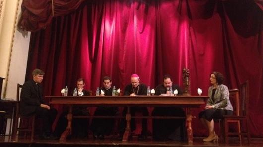 Da esquerda para a direita: Mons. Dominic Carey, Pe. Luiz Fernando Pasquotto, Pe. Renato Coelho, Dom Schneider, Dom Bruno e Duclerc Parra.