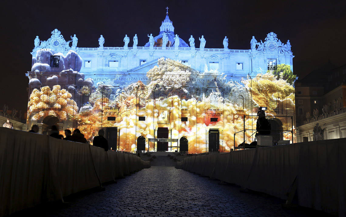 A picture of corals as part of art projection featuring images of humanity and climate change of Artistic rendering by Obscura Digital is projected onto the faade of St. Peter's Basilica at the Vatican