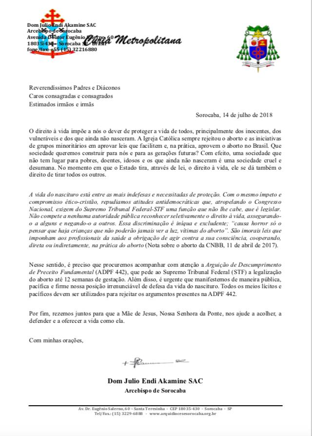 Nota arcebispo de Sorocaba